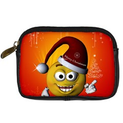 Cute Funny Christmas Smiley With Christmas Tree Digital Camera Cases by FantasyWorld7