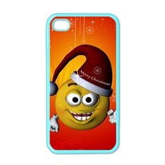 Cute Funny Christmas Smiley With Christmas Tree Apple Iphone 4 Case (color) by FantasyWorld7