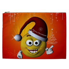 Cute Funny Christmas Smiley With Christmas Tree Cosmetic Bag (xxl)  by FantasyWorld7