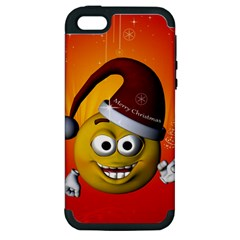 Cute Funny Christmas Smiley With Christmas Tree Apple Iphone 5 Hardshell Case (pc+silicone) by FantasyWorld7
