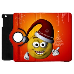 Cute Funny Christmas Smiley With Christmas Tree Apple Ipad Mini Flip 360 Case by FantasyWorld7
