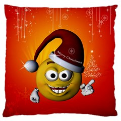 Cute Funny Christmas Smiley With Christmas Tree Standard Flano Cushion Cases (two Sides)  by FantasyWorld7