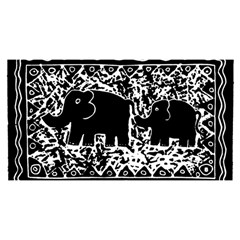 Elephant And Calf Lino Print YOU ARE INVITED 3D Greeting Card (8x4)
