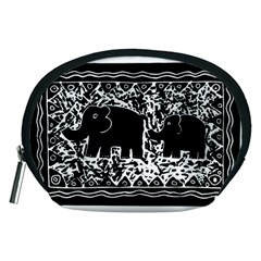 Elephant And Calf Lino Print Accessory Pouches (medium)  by julienicholls