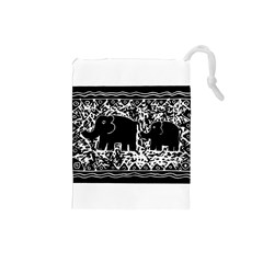 Elephant And Calf Lino Print Drawstring Pouches (small)  by julienicholls