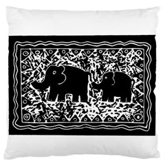 Elephant And Calf Lino Print Large Flano Cushion Cases (two Sides)  by julienicholls