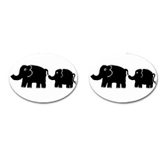 Elephant And Calf Cufflinks (oval) by julienicholls