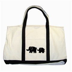 Elephant And Calf Two Tone Tote Bag  by julienicholls