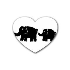 Elephant And Calf Heart Coaster (4 pack)  by julienicholls