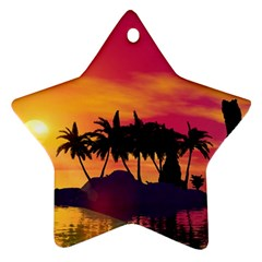 Wonderful Sunset Over The Island Ornament (Star)  by FantasyWorld7