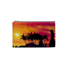 Wonderful Sunset Over The Island Cosmetic Bag (small)  by FantasyWorld7