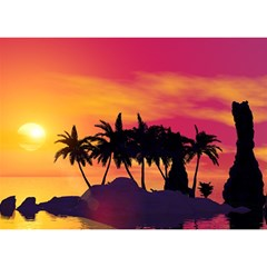 Wonderful Sunset Over The Island Birthday Cake 3d Greeting Card (7x5)