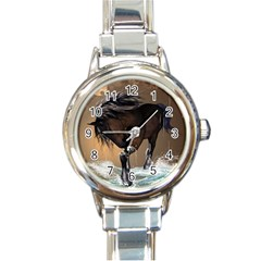 Beautiful Horse With Water Splash Round Italian Charm Watches by FantasyWorld7