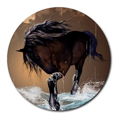 Beautiful Horse With Water Splash Round Mousepads by FantasyWorld7