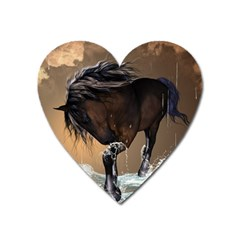 Beautiful Horse With Water Splash Heart Magnet by FantasyWorld7