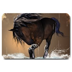 Beautiful Horse With Water Splash Large Doormat  by FantasyWorld7