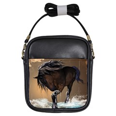 Beautiful Horse With Water Splash Girls Sling Bags by FantasyWorld7