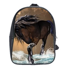 Beautiful Horse With Water Splash School Bags (xl)  by FantasyWorld7