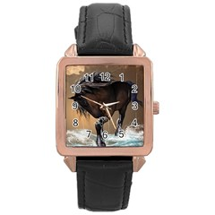 Beautiful Horse With Water Splash Rose Gold Watches by FantasyWorld7