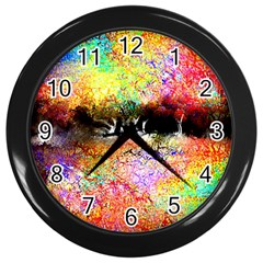 Colorful Tree Landscape Wall Clocks (black)