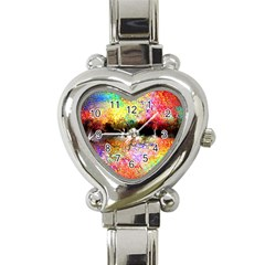 Colorful Tree Landscape Heart Italian Charm Watch by theunrulyartist