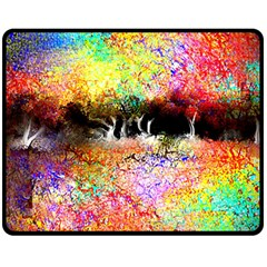 Colorful Tree Landscape Double Sided Fleece Blanket (medium)  by theunrulyartist