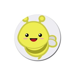 Kawaii Bee Rubber Coaster (Round)  by KawaiiKawaii