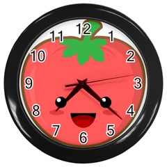Kawaii Tomato Wall Clocks (black) by KawaiiKawaii