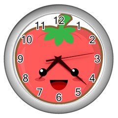 Kawaii Tomato Wall Clocks (silver)  by KawaiiKawaii