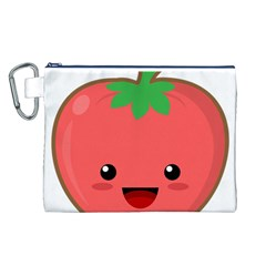 Kawaii Tomato Canvas Cosmetic Bag (l) by KawaiiKawaii