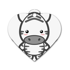 Kawaii Zebra Dog Tag Heart (two Sides) by KawaiiKawaii