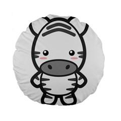 Kawaii Zebra Standard 15  Premium Round Cushions by KawaiiKawaii