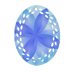 Abstract Lotus Flower 1 Oval Filigree Ornament (2 Side)  by MedusArt