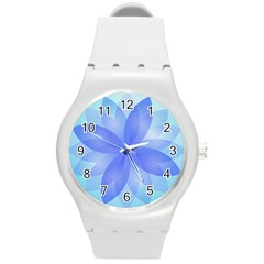 Abstract Lotus Flower 1 Round Plastic Sport Watch (m) by MedusArt