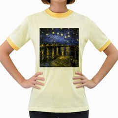 Vincent Van Gogh Starry Night Over The Rhone Women s Fitted Ringer T Shirts by MasterpiecesOfArt
