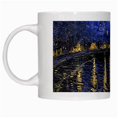Vincent Van Gogh Starry Night Over The Rhone White Mugs by MasterpiecesOfArt