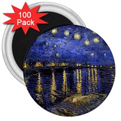Vincent Van Gogh Starry Night Over The Rhone 3  Magnets (100 pack) by MasterpiecesOfArt