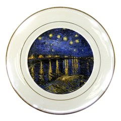 Vincent Van Gogh Starry Night Over The Rhone Porcelain Plates by MasterpiecesOfArt