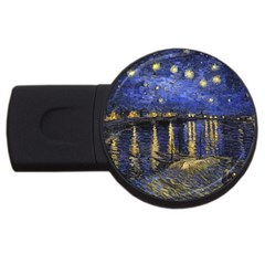 Vincent Van Gogh Starry Night Over The Rhone Usb Flash Drive Round (4 Gb)  by MasterpiecesOfArt