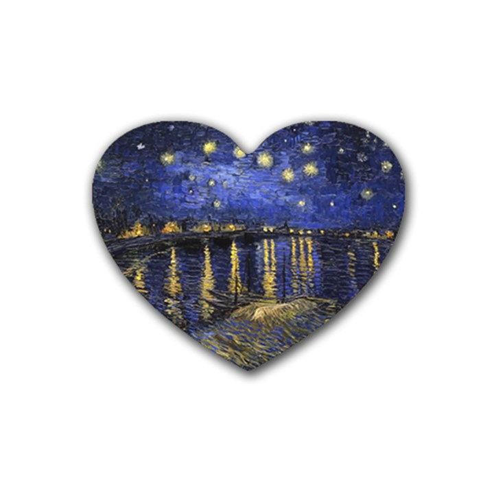 Vincent Van Gogh Starry Night Over The Rhone Heart Coaster (4 pack)