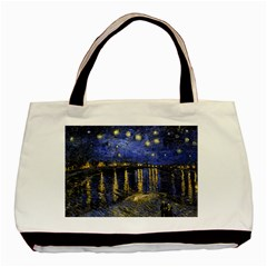 Vincent Van Gogh Starry Night Over The Rhone Basic Tote Bag (two Sides)  by MasterpiecesOfArt