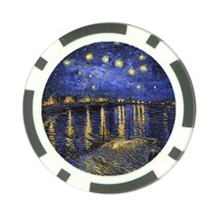 Vincent Van Gogh Starry Night Over The Rhone Poker Chip Card Guards by MasterpiecesOfArt