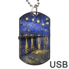 Vincent Van Gogh Starry Night Over The Rhone Dog Tag Usb Flash (one Side) by MasterpiecesOfArt
