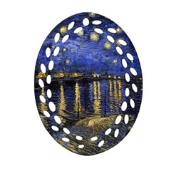 Vincent Van Gogh Starry Night Over The Rhone Ornament (oval Filigree)  by MasterpiecesOfArt