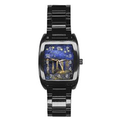 Vincent Van Gogh Starry Night Over The Rhone Stainless Steel Barrel Watch