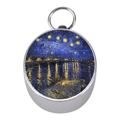 Vincent Van Gogh Starry Night Over The Rhone Mini Silver Compasses by MasterpiecesOfArt