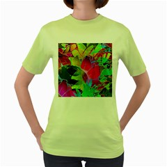 Floral Abstract 1 Women s Green T Shirt by MedusArt