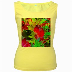 Floral Abstract 1 Women s Yellow Tank Tops by MedusArt