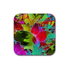 Floral Abstract 1 Rubber Square Coaster (4 Pack)  by MedusArt