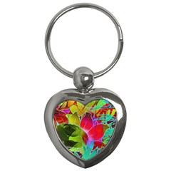 Floral Abstract 1 Key Chains (heart)  by MedusArt